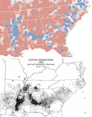 Map O' The Day #19 – 2008 Presidential Voting vs. 1800's Cotton Production